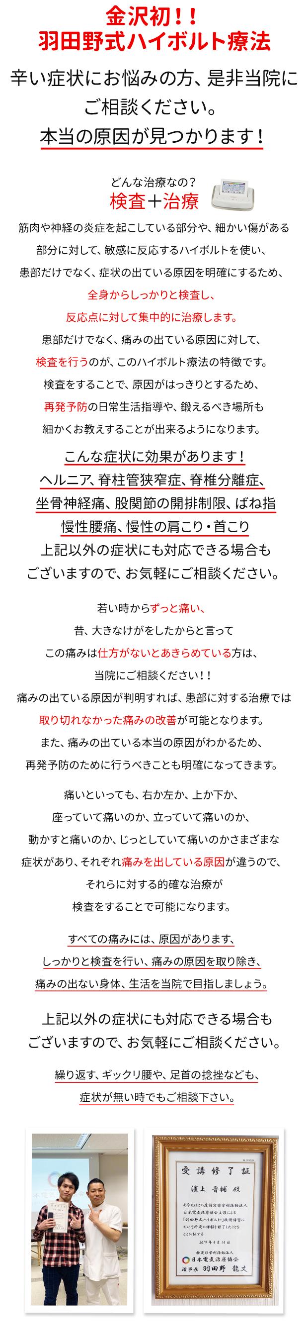 羽田野式ハイボルト療法の説明